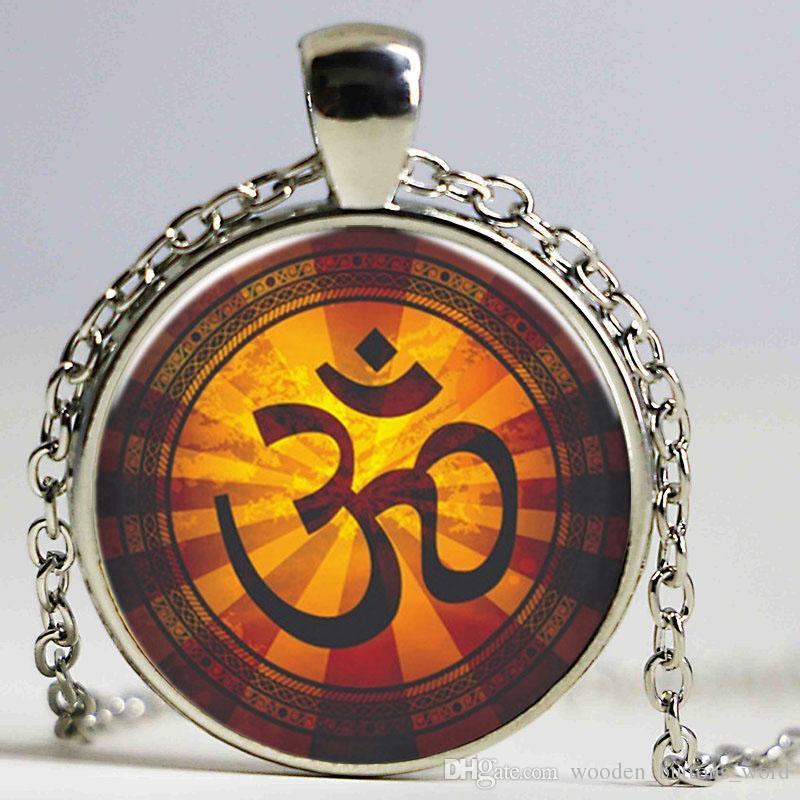 Wholesale Glass Chokers Art Om Symbol Design Necklaces Pendants Men