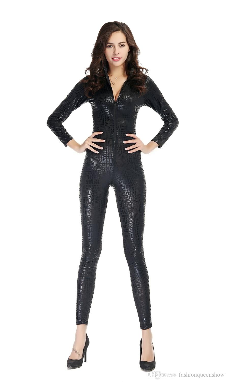 656422bdc7c 2019 New Arrival Fashion Women Hot Sexy Snake Skin Jumpsuit Faux Leather  Catsuit Zipper Front Bodycon Overall Fetish Costume From Fashionqueenshow