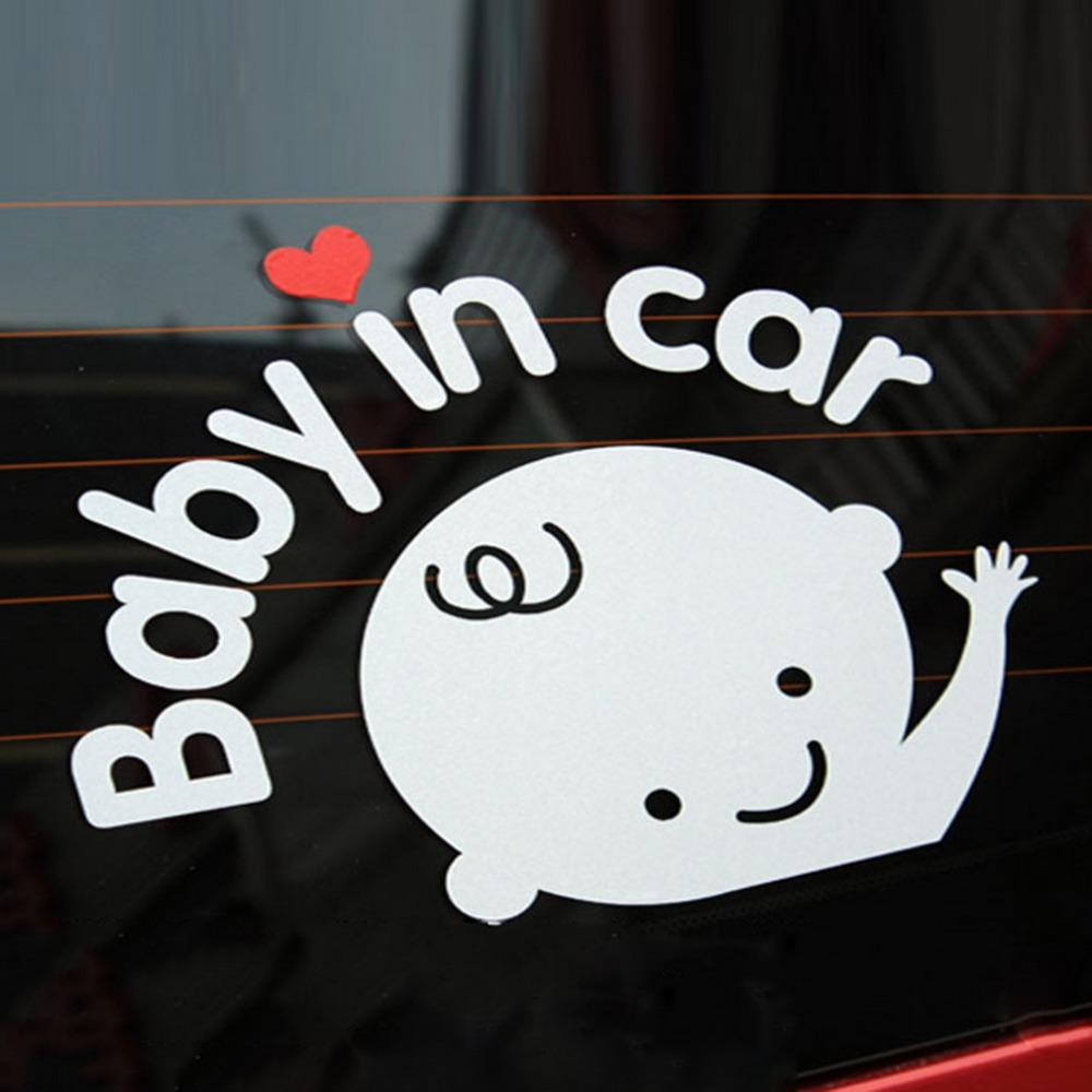 Cartoon Car Stickers Reflective Vinyl Styling Baby In Car Warming