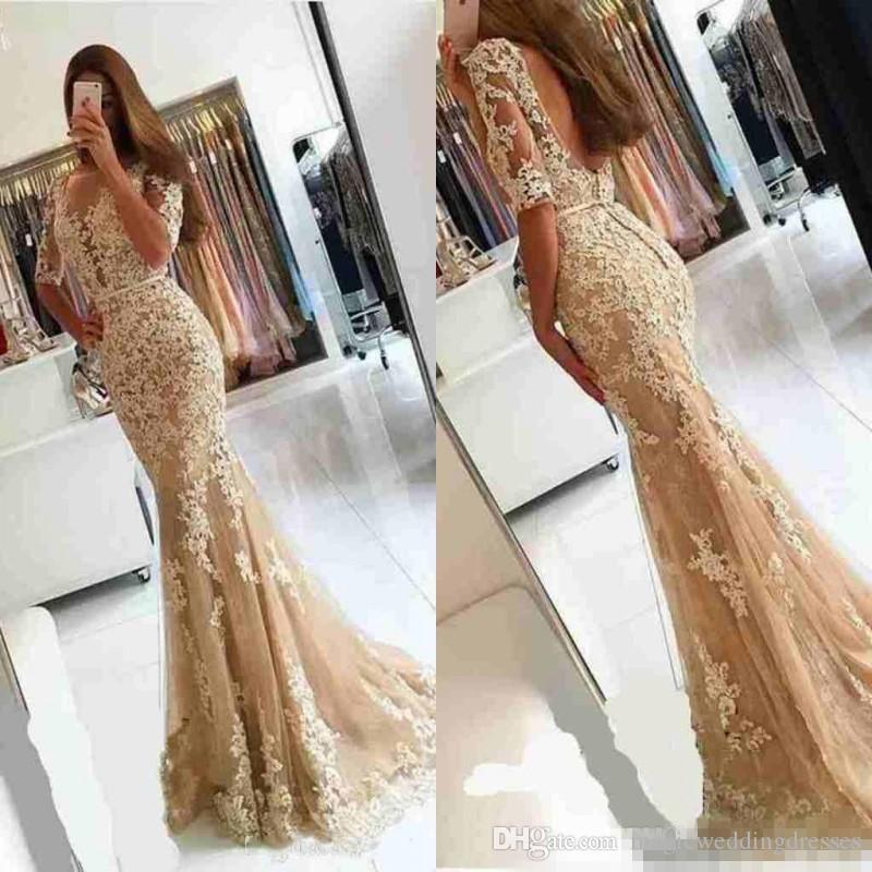 2019 Champagne Lace Half Sleeves Mermaid Evening Dresses Shee Neck Backless Plus Size Long Backless Celebrity Cocktail Party Prom Gowns