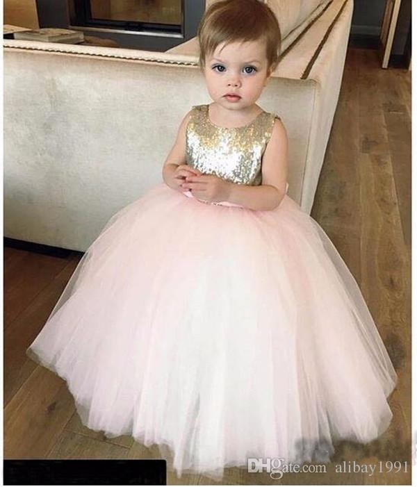 Cute Gold and Pink Sequined for Baby Girls Birthday Dresses with Bow Tulle Custom First Communion Dress