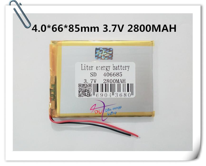 Hot selling best battery brand Free shipping A new article 3.7V lithium polymer battery 2800 mah 406685 ma tablet battery
