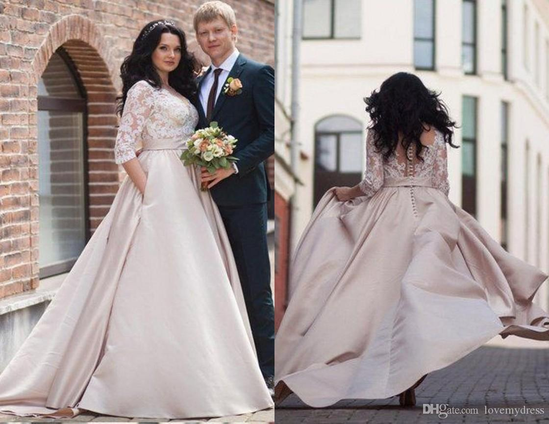Discount 2018 Elegant Plus Size Wedding Dresses Bridal Gown Hollow