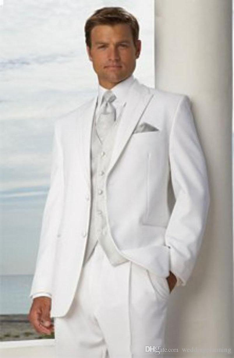 Custom Made White Classic Slim Fit Groom Tuxedos Best man Peak Lapel Groomsman Men Wedding Suits Bridegroom Jacket+Pants+Tie+Vest