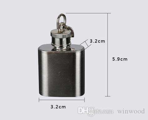 Flagon Flask 1oz Russische Edelstahl Flachmann Tragbare Mini Alkohol Whisky Wein Trinkflasche Pocket Liquor Drinkware Schlüsselanhänger