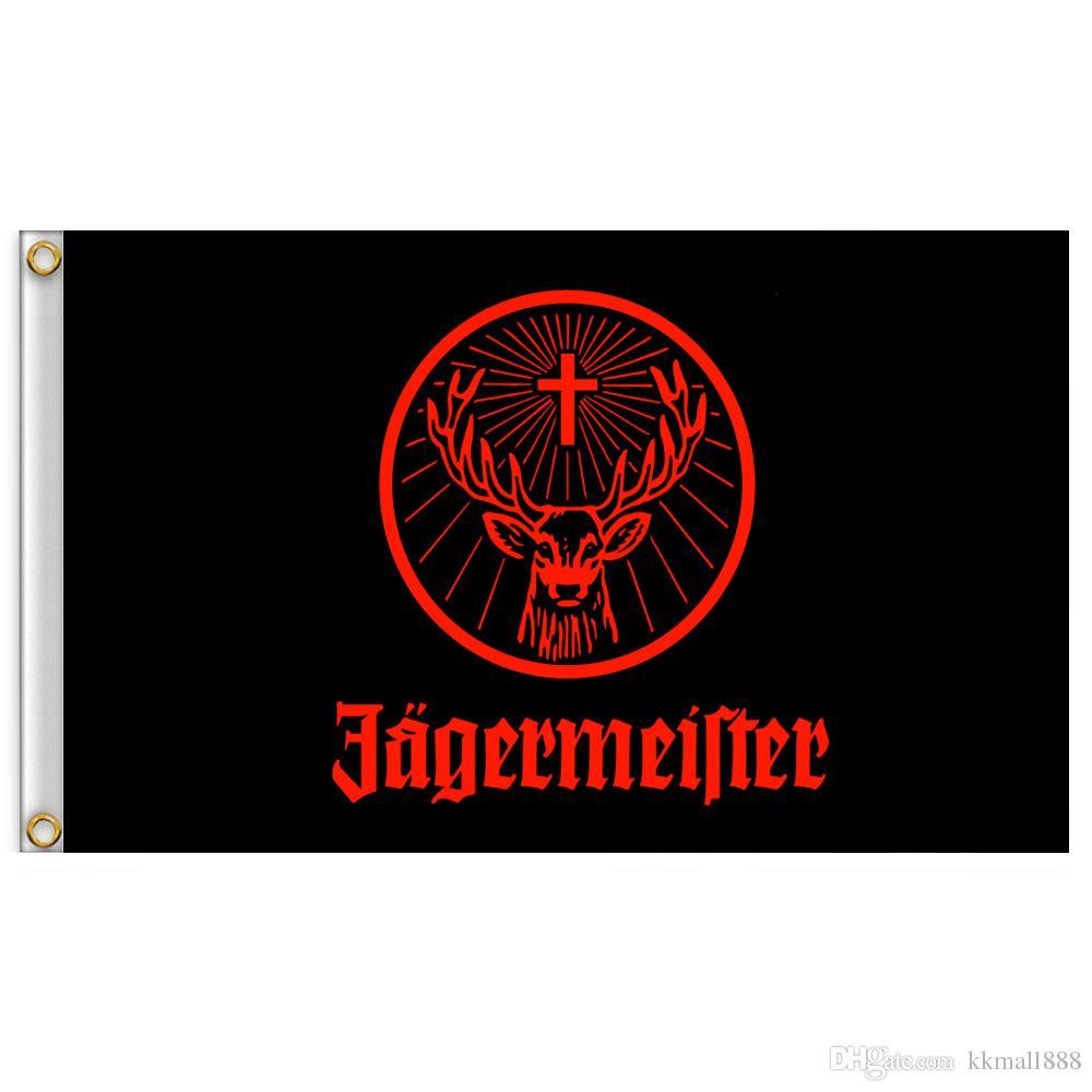 3x5ft Jagermeister Giant Large Schwarzes Fliegen-Flag-Banner Lebendige Farbe und wetterfest 100% Polyester und Messing Ösen