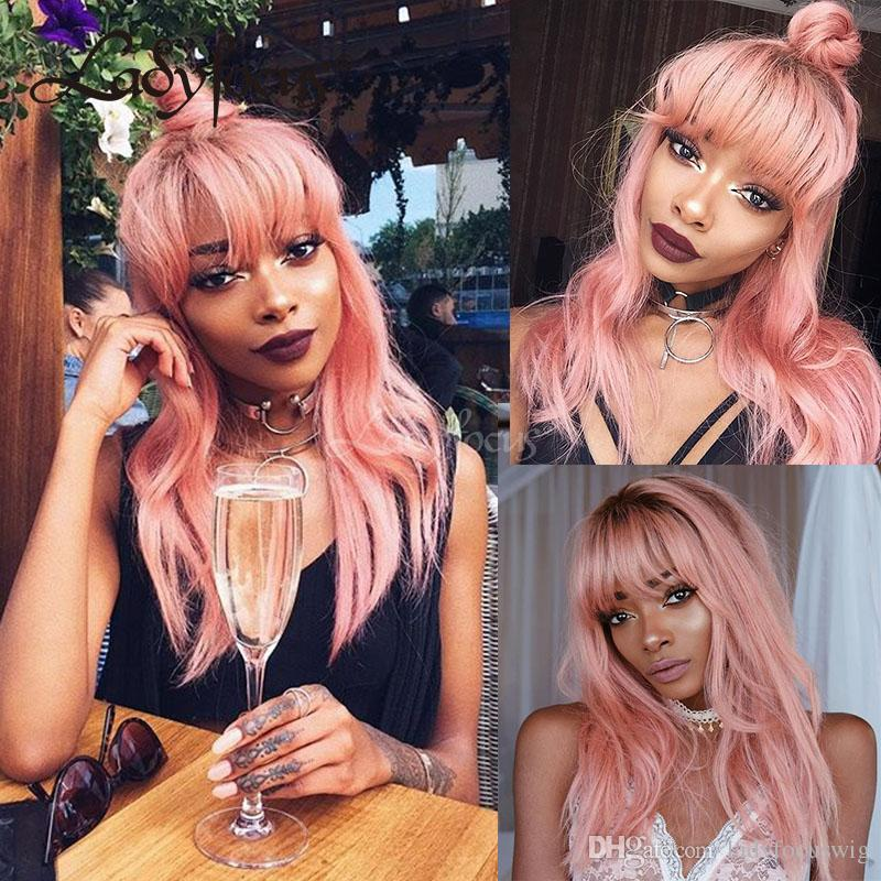 Pink Wig With Bangs Glueless Full Lace Human Hair Wigs Ombre Pink Lace Front Wig 130% Density Dark Roots For Black Women