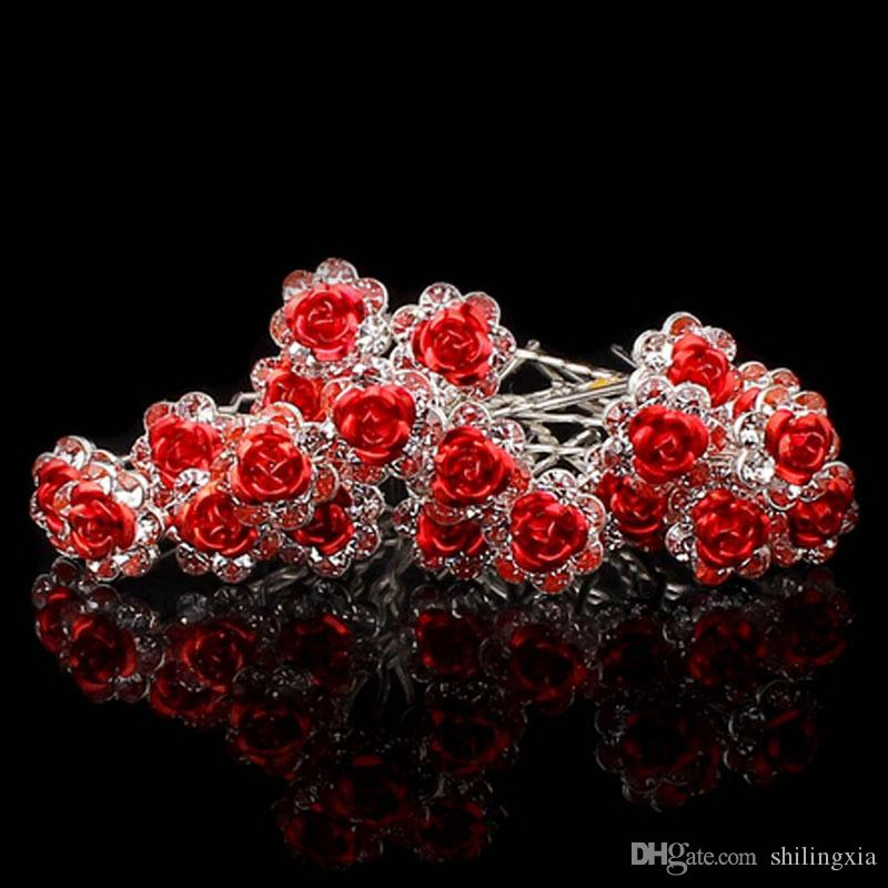 / Women Wedding Bridal Clear Crystal Rhinestone Rose Flower Hair Pin Clips Hair Accessories Jewelry Barrettes Headwear