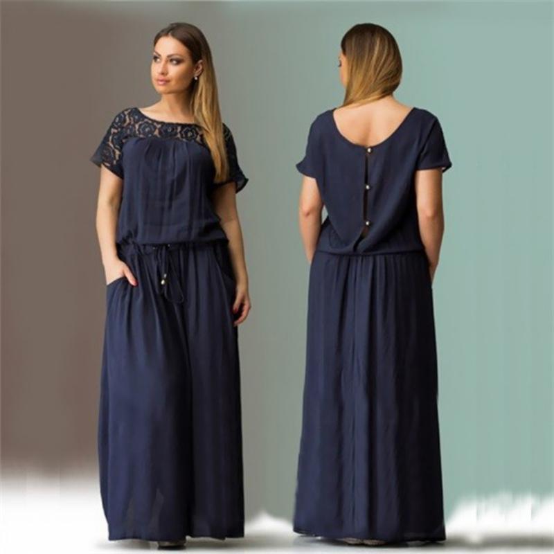 79bd9492d590 WJ Kurzarm Spitze Sommerkleid Große Größen Neue Frauen Sommer Plus Größe  Langes Kleid Maxi Kleid Vintage Vestidos L-6XL ht