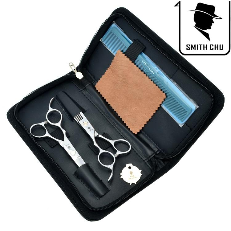 6.0Inch Smith Chu Left handed Professional Hair Scissors Cutting & Thinning Shears Salon Razor Hairdressing Barber Set with Case, LZS0071