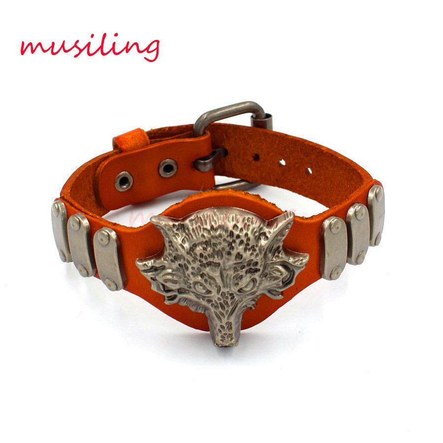 Leather Bracelets Bangle Jewelry Mens Bracelet Wolf Head Accessories Watch Band Design Adjustable Hip Hop Decorations Amulet Jewelry
