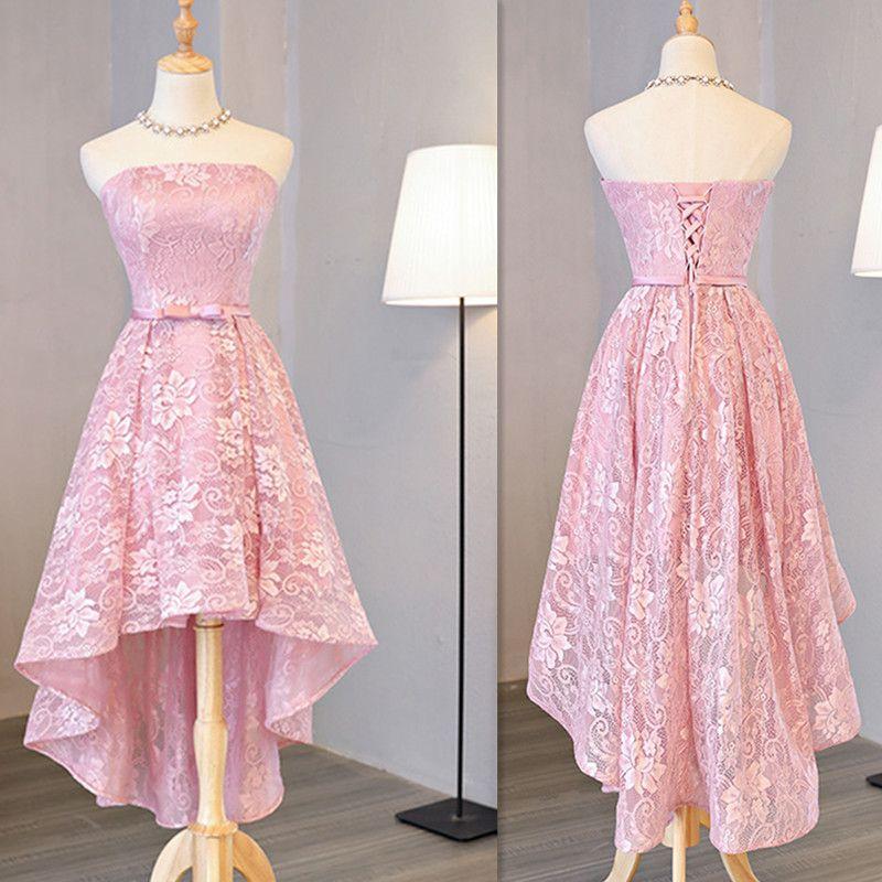 Compre 2017 Rosa Claro Vestidos De Dama De Honor Bajo Sin Tirantes ...