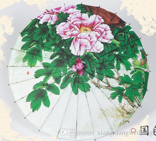 Decoración de la boda Paraguas Pintura clásica Oilpaper Mango de bambú Espectáculos de baile hechos a mano y apoyos de fotos antiguas chinas