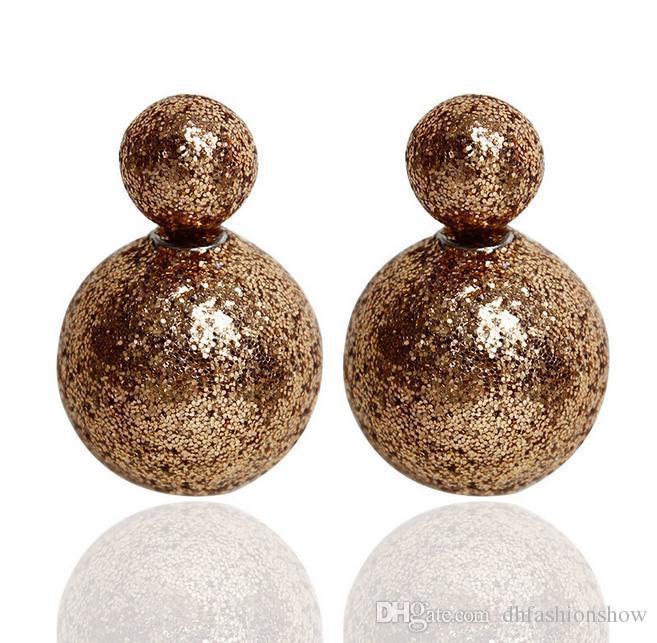 New Arrival Scrub Double Pearl Earrings for Women Fashion Statement Double Side Stud Earrings Big Ball Jewelry