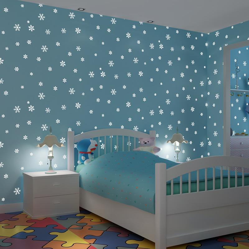 luminous wall paper 3d korean style romantic snowflake fluorescent wallpaper non woven kids room. Black Bedroom Furniture Sets. Home Design Ideas