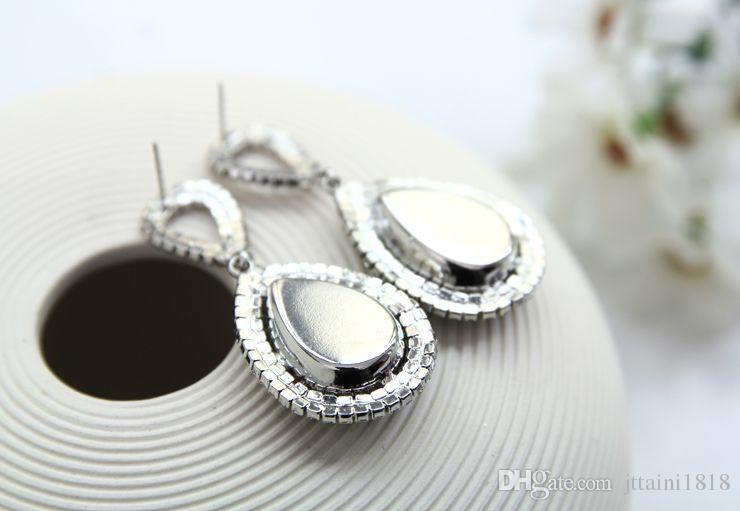 2017 мода ювелирные изделия Кристалл супер флэш-серебро гальваника капли воды горный хрусталь большие серьги для женщин #E014