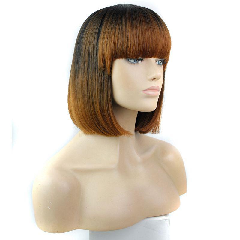 Tam Bang Ile ombre Sentetik Saç Peruk 12 inç Isıya Dayanıklı Siyah Sentetik Kısa Bob Peruk Popüler Tarzı