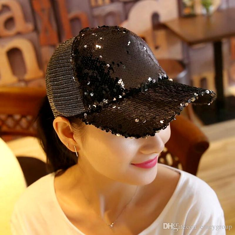 New Baseball Cap Women s Adjustable Cap Casual Leisure Hat Reflective  Sequins Fashion Snapback Summer Fall Hat Casquette DHL Free Online with   4.7 Piece on ... cc4c2b1ecd76