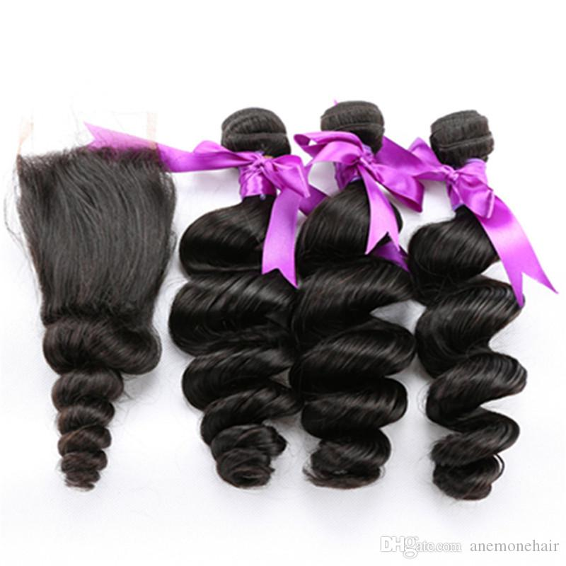 Anemone 44 Lace Closure With Bundles Loose Wave Human Hair Weaves
