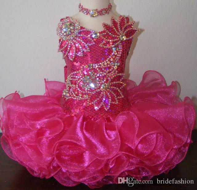 Juwel fuchsia Paillettenkette billig Glänzende Perlen Ballkleid Cupcake Kleinkind kleine Mädchen Festzug Kleider Blume Mädchen für Hochzeiten Glitz