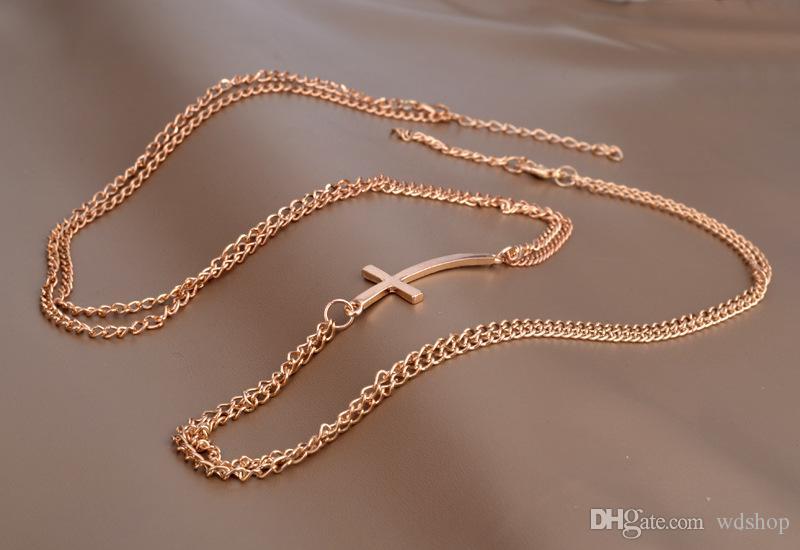 Women Double Cross Pendant Body Chain Fashion Gold Harness Necklace Waist Belly Chain Jewelry Beach Bikini Chains