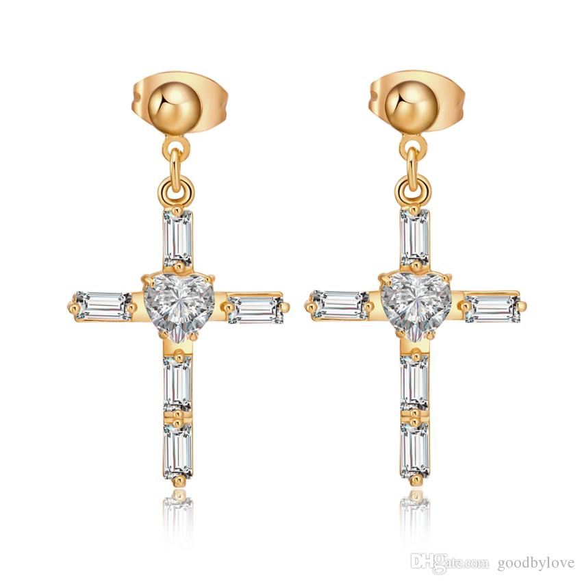 Clear Cubic Zirconia CZ Cluster 18K Yellow Gold Plated Cross Stud Earrings for Women