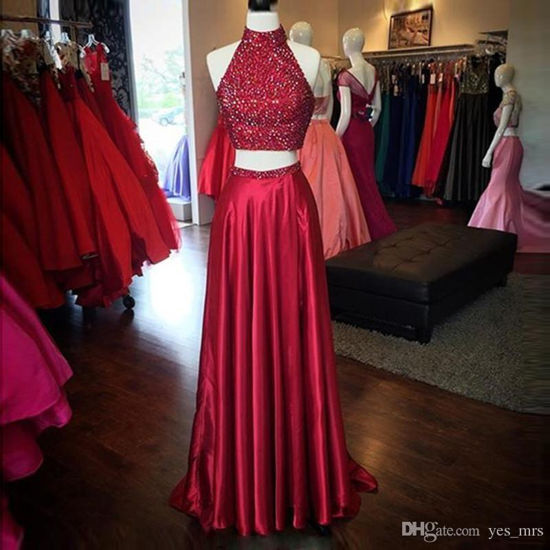 2017 Two Pieces Prom Dresses High Neck Crystal Beaded Satin Burgundy Dark Red Side Split Hollow Back Long Formal Party Dress Evening Gowns