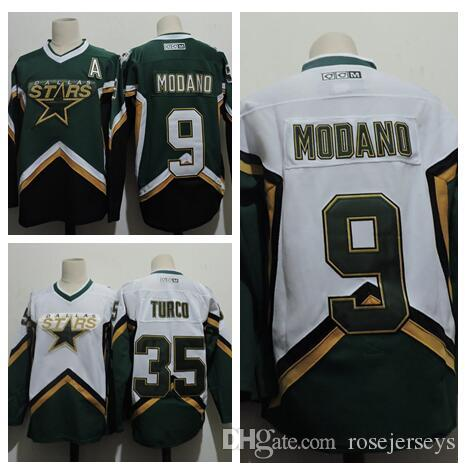 Cheap Mens Dallas Stars  9 Mike Modano 2005 Green White Jersey  35 MARTY  TURCO 2003 CCM Vintage Home Stitched Retro Hockey Jerseys Size S-3XL 2241ab86e
