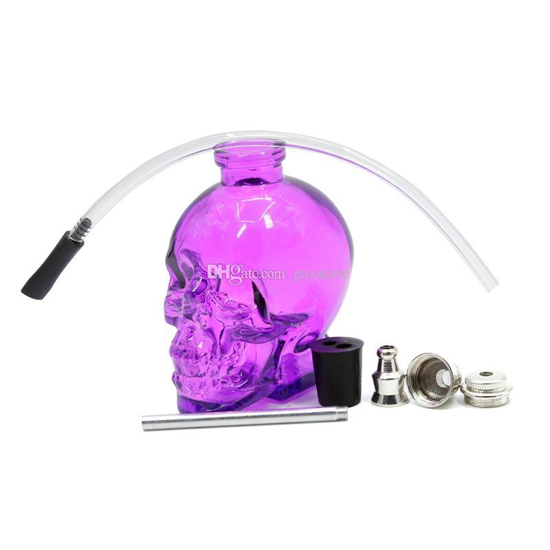Melhor Bongo De Vidro Da Cabeça Do Crânio 7 Cores de Vidro Hookah Tubulação De Água Durável Mini Shisha Tabaco De Fumar Tubulação De Água Barato Projeto Original