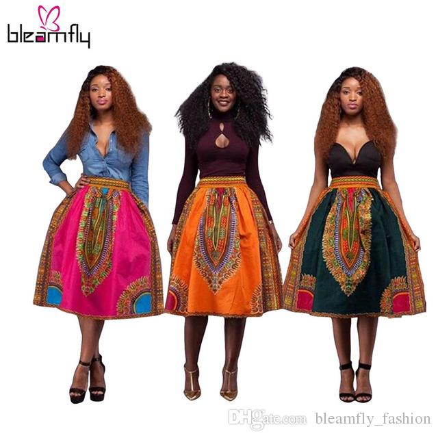 f5920ea5f5f 2019 2017 Summer Traditional African Dashiki Skirts Jupe Femme Vintage  Green Women Plus Size African High Waist Midi Skirt Clothes From  Bleamfly fashion