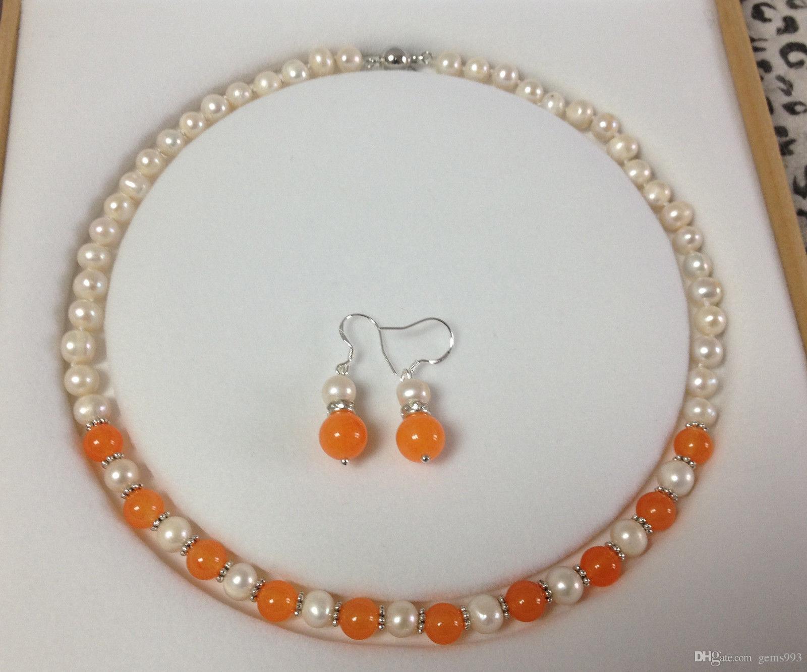 ee540a9c78ad Compre ENVÍO GRATIS Nueva Joya Noble De La Joyería Fina ¡Maravilloso! Juego  De Collar De Jade De Perlas Blancas