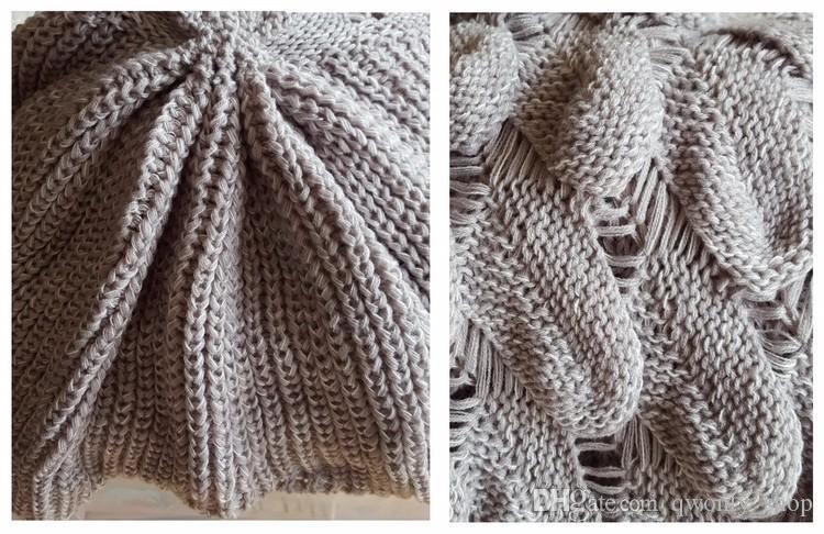 Mermaid Tail Blanket Yarn Knitted Handmade Crochet Mermaid Blanket Kids Throw Bed Wrap Super Soft Sleeping Bed