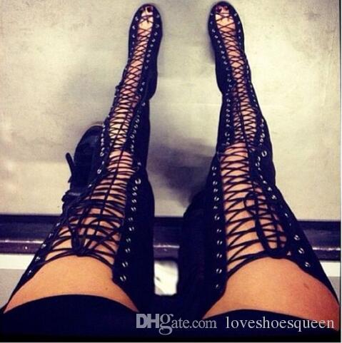 حار مثير القصاصات الفخذ أحذية عالية الدانتيل يصل الإفراط في الركبة الأحذية امرأة كيم كارداشيان نمط عالية الكعب الصنادل المصارع