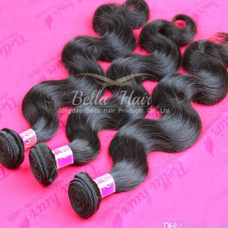 Przedłużanie Włosów 10-34inch Dziewicy Indian Ciała Fala Ludzkie Włosiane Wiązki 3 sztuk / partia Natural Color Włosy Włosy 9a Przedłużenie w Bulk Bellahair
