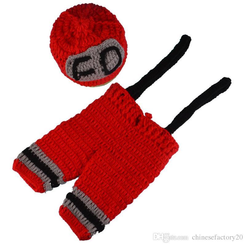 Bebé recién nacido apoyos de la fotografía Juegos de bomberos de dos piezas niños elástico sombrero de ganchillo tirantes de punto Cosplay traje foto Prop