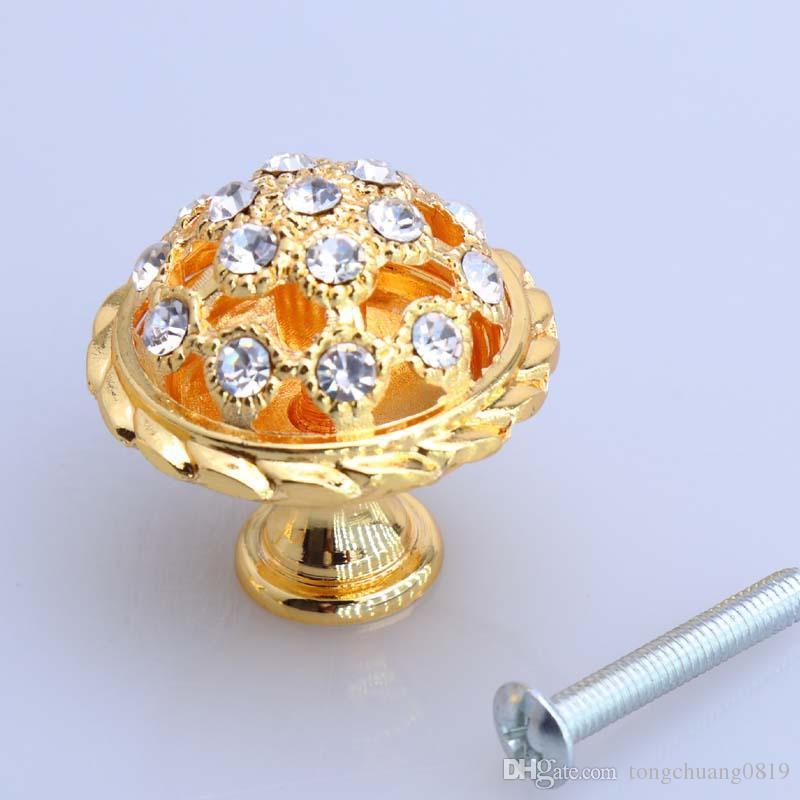 96 mm 128 mm 24 K oro rhinestone win armario aparador manija de la puerta de cristal diamante cajón perilla tirar de la moda de lujo muebles mango 5