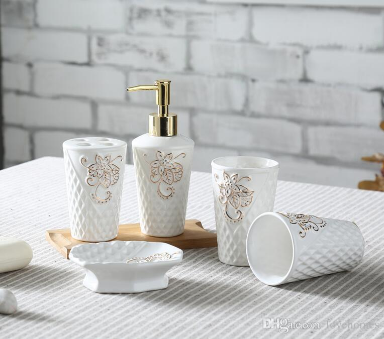 2017 leaf shape ceramic bathroom accessories elegant bathroom sets 1 soap bottle1 soap dish 1toothbrush holder2 cups white color from lovehomes