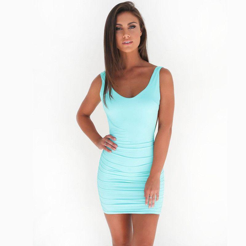 2017 Women's dress mini Simple sexy pure color shoulder strap deep V backless halter slim lady dress rayon milk silk t-shirt dress NN-003
