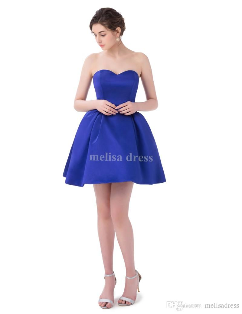 2017 Real Samples Satin Ball Gown Short Royal Blue Prom Dress ...