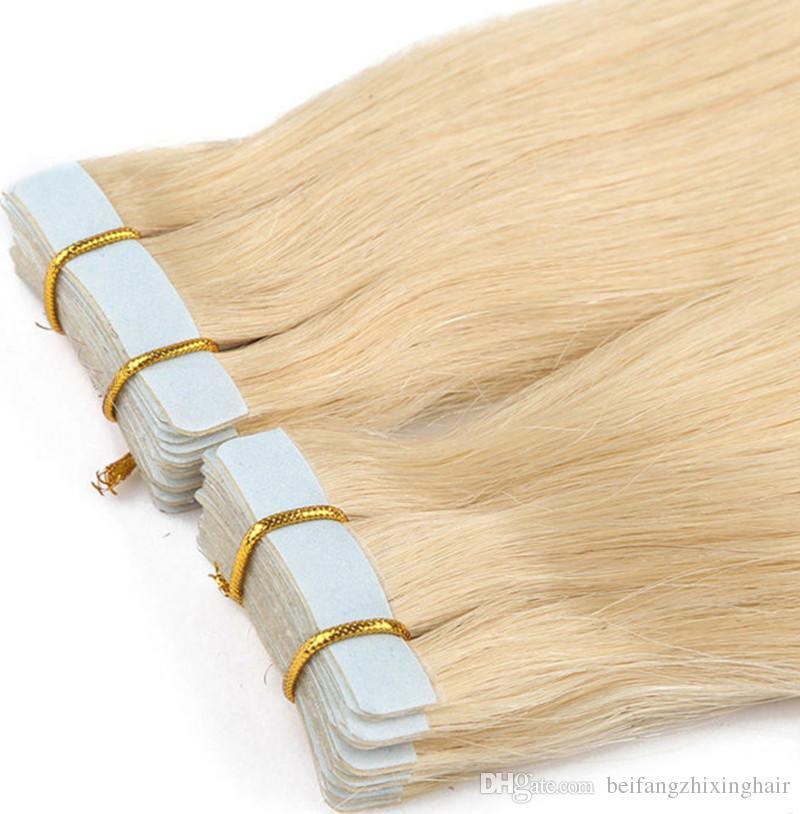 Ранг 10A - - - - двойная нарисованная лента Pu цвета 613 Блондинкы в выдвижении волос 100% людские волосы remy 12