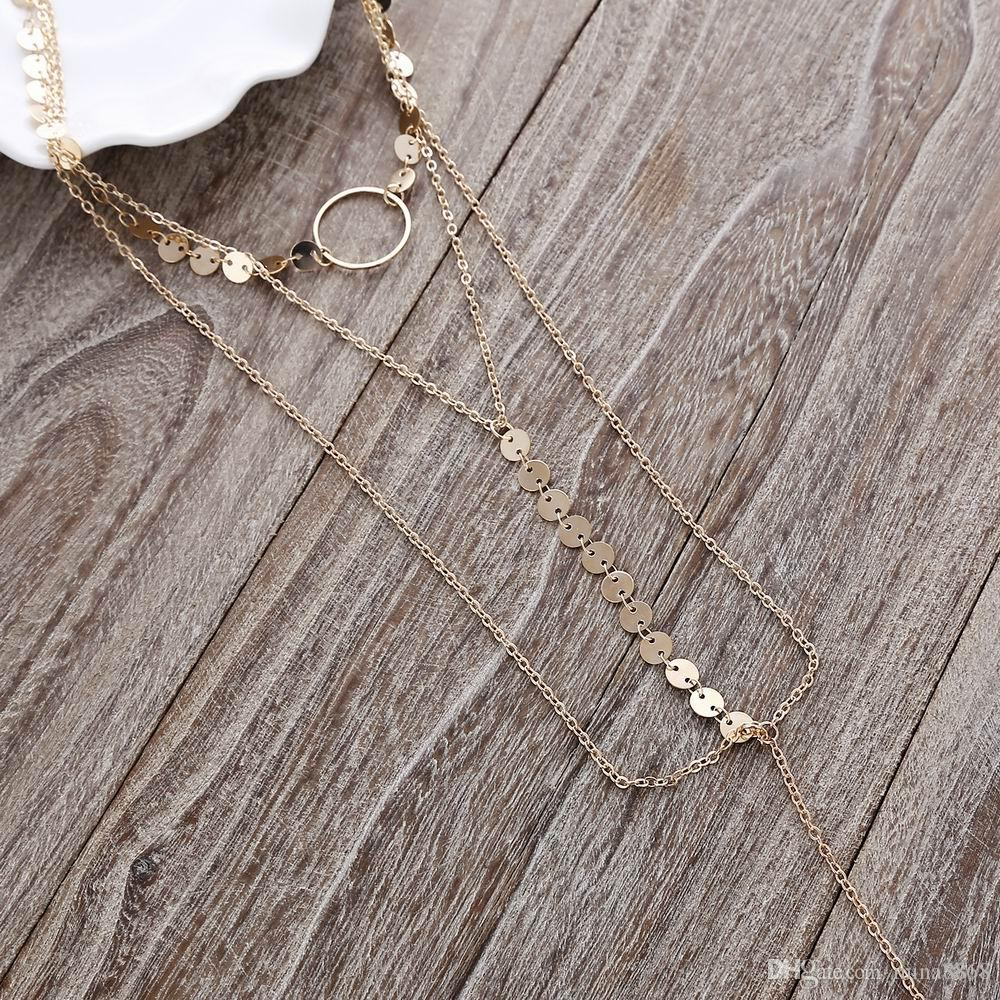 Women Chokers Sequins Necklaces New Arrival Long Chain Pendants Statement Multilayer Necklace For Women Nightclub Party Jewelry Wholesale
