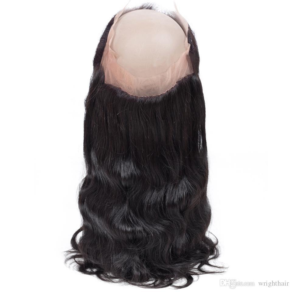 Brasilianische Menschenhaar-Webart-Körper-Welle gerade 3 Bündel mit 360 Spitze-Frontal-Schließung Brasilianisches peruanisches malaysisches indisches reines Haar