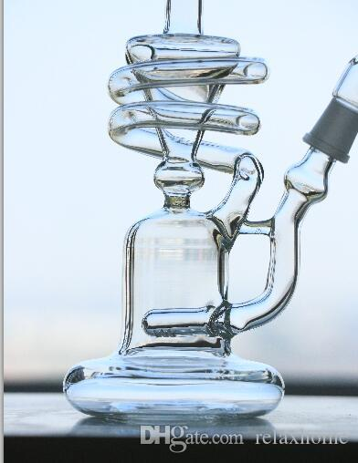 """THICK Glass Bongs Typhoon"""" Spiral Coil Herb Smoking Oil Rig Pers Tall 12""""inch jioint 14.5mm bong Art"""