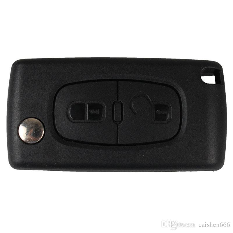 2 Button Folding Key Shell Remote Key Fob Case For PEUGEOT 207 307 307S 308 407 607 Tire Pressure Alarm car-styling