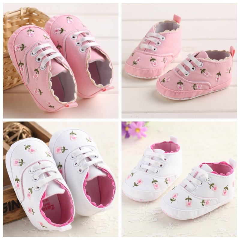 40eef19e143 Baby Girl Shoes White Lace Embroidered Soft Shoes Flower Prewalker ...