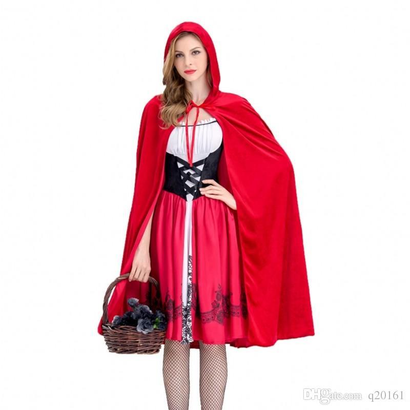 Little red riding hood costume adulto Halloween party party dress little red riding hood Queen discoteche abbigliamento all'ingrosso spedizione gratuita