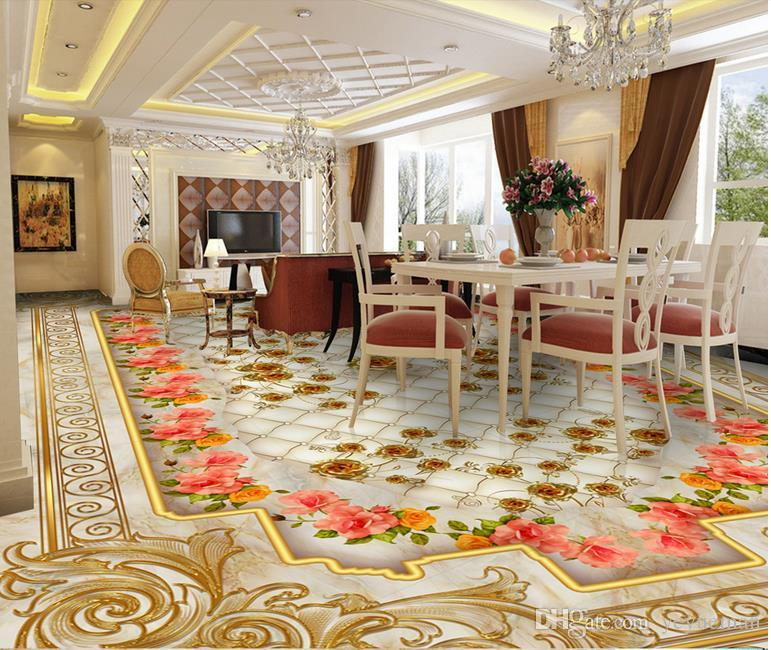 3d floor wallpaper luxury golden rose marble soft bag for Living room 3d tiles