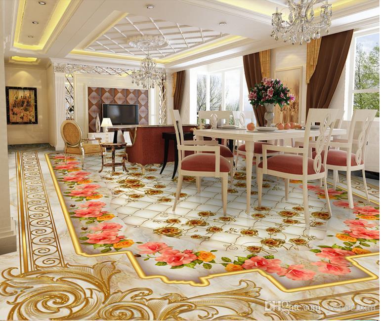 3d piso de papel de parede de luxo de ouro rosa de mármore saco macio papéis de parede para sala de estar personalizar 3d estereoscópico piso 3d murais papel de parede