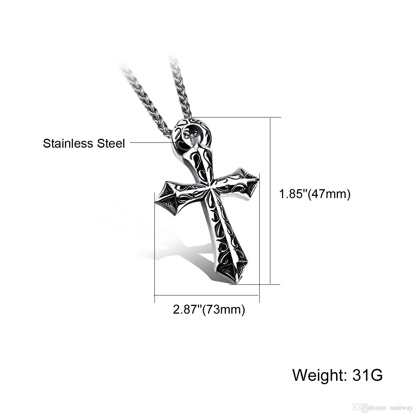 Vintage Biker Solid 316L Stainless Steel Crucifix Cross Pendant Necklace for Men Silver High Polish Punk Rock Mens Personality Jewelry