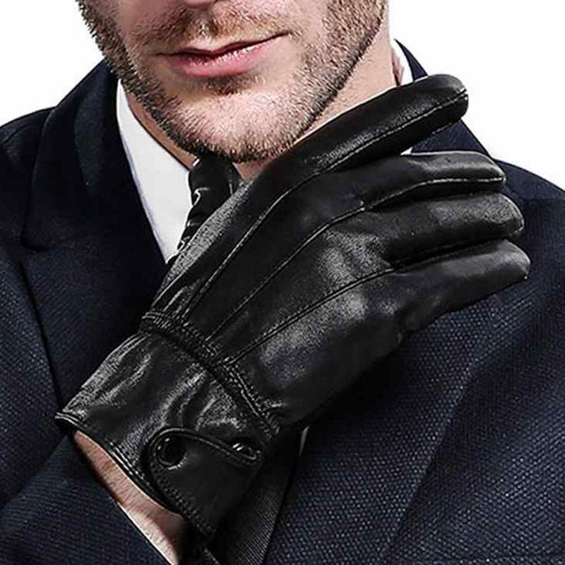 2019 Wholesale Warm Winter Mens Gloves Genuine Leatherblack